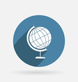 globe Circle blue icon with shadow vector image