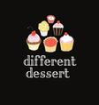 graphic delicious cakes on a dark background vector image vector image