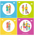 happy family set of posters vector image vector image
