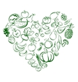 Heart from food fruits and vegetables icon sketch vector image vector image