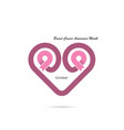 heart shape amp pink ribbon iconbreast cancer vector image vector image
