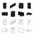 home appliances and equipment blackoutline icons vector image