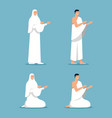 islam pilgrims praying at stand and sit position vector image vector image