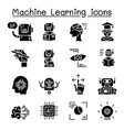 machine learning icon set graphic design vector image vector image