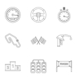Machine race icons set outline style vector image vector image
