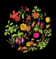 Meadow flower and leaf wreath isolated on black vector image vector image