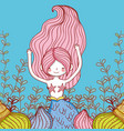 mermaid woman with branches leaves plants and vector image vector image