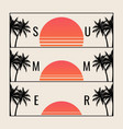 minimalistic summer sunset for summer party vector image vector image