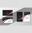 modern red business card design template set vector image vector image