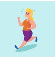 Obese young woman running Funny cartoon vector image vector image