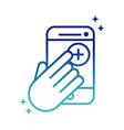 online health smartphone hand click medical app vector image vector image