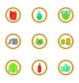paintball things icons set cartoon style vector image vector image