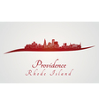 Providence skyline in red vector image vector image