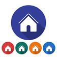 round icon home flat style with long shadow in vector image
