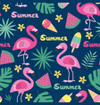 seamless pattern with flamingo ice cream vector image