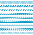 Seamless wave line pattern borders set vector image vector image