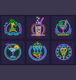 set of neon icons beach vector image vector image