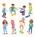 skateboard young people boy and girl vector image vector image