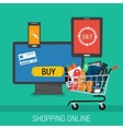 Square banner online shopping and payment vector image vector image