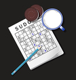 Sudoku game mug of milk and cookie vector image vector image