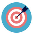 target with arrow icon on round blue background vector image