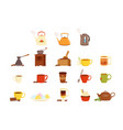 tea set various kitchen utensils tea cup and vector image vector image