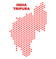 tripura state map - mosaic of valentine hearts vector image vector image