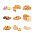 various bakery cake set vector image
