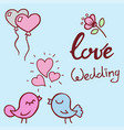 wedding outline hand drawn icons vector image vector image