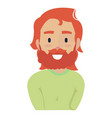 young red-haired man with long hair and a mustache vector image vector image