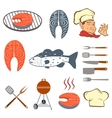 Fish set of steak and tools vector image