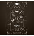 Fast food on the restaurant menu chalkboard vector image