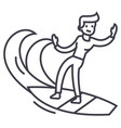 man surfing line icon sign vector image