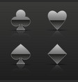 silver cards suits icons vector image