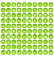 100 startup icons set green vector image vector image