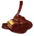 3d crispy waffle with pouring chocolate vector image vector image