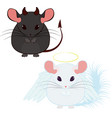 angel and devil good and bad chinchilla vector image vector image