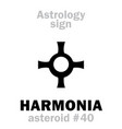 astrology asteroid harmonia vector image vector image