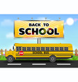 back to school billboard with school bus on road vector image