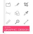 black graphic design icons set vector image