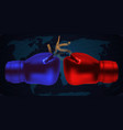 boxing gloves facing each other on abstract vector image vector image