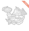 cartoon mushrooms and leaf with doodle ornament vector image vector image
