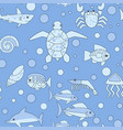 cartoon ocean animals seamless pattern vector image