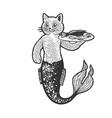 cat mermaid with fish line art sketch vector image