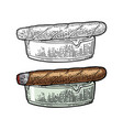 cigar and ashtray vintage engraving color vector image vector image