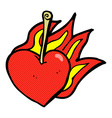 comic cartoon flaming heart cherry vector image