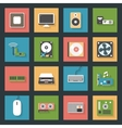 Computer peripherals and parts flat icons set vector image vector image