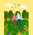 couple having date in park man and woman vector image vector image