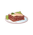 delicious lasagna isolated icon vector image vector image