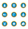 eve party icons set flat style vector image vector image